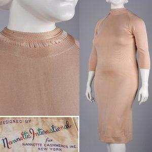 XXL Plus Vintage 60s Nude Wiggle Bodycon Dress